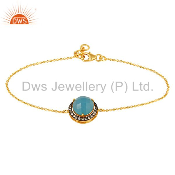 18K Gold Plated Sterling Silver Blue Chalcedony And CZ Chain Bracelet
