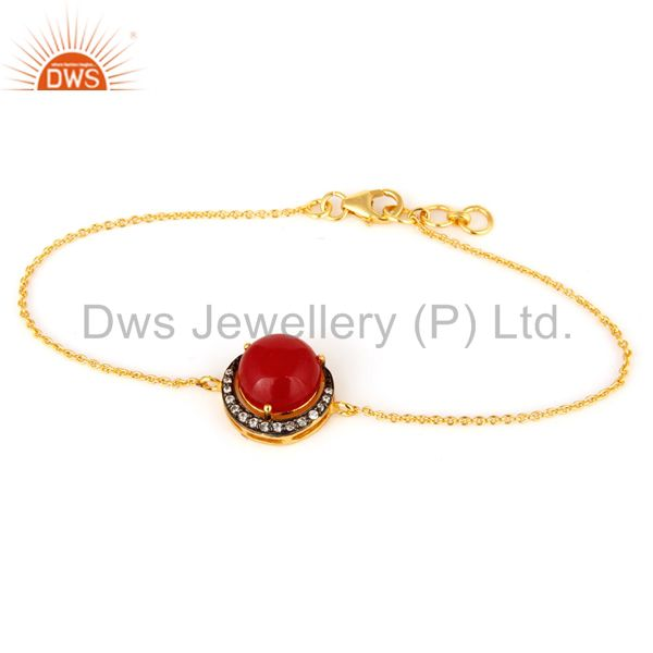 18K Yellow Gold Plated Sterling Silver Red Aventurine And CZ Chain Bracelet