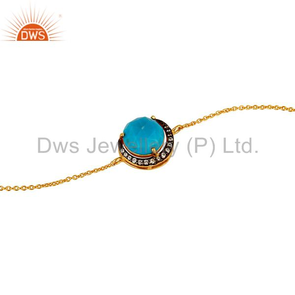 18K Gold Plated Sterling Silver Turquoise And CZ Half Moon Charms Bracelet
