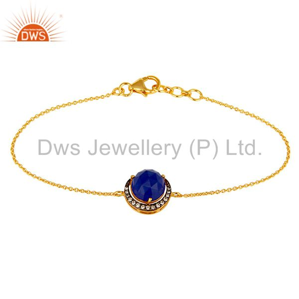 18K Gold Plated Sterling Silver Blue Aventurine And CZ Half Moon Charms Bracelet