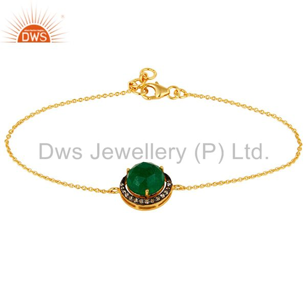 18K Yellow Gold Plated Sterling Silver Green Aventurine And CZ Chain Bracelet