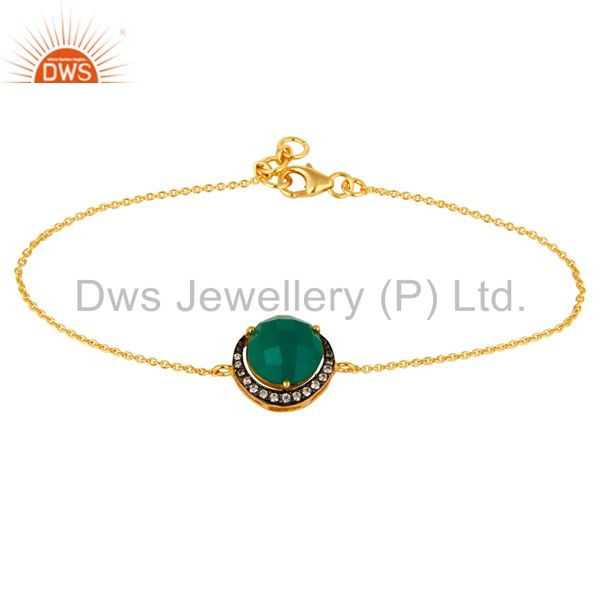18K Gold Plated Sterling Silver Green Onyx And Cubic Zirconia Bracelet