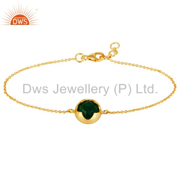 Shiny 14K Yellow Gold Plated Sterling Silver Green Aventurine Gemstone Bracelet