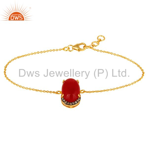 18K Yellow Gold Plated Sterling Silver Red Aventurine Fashion Bracelet With CZ