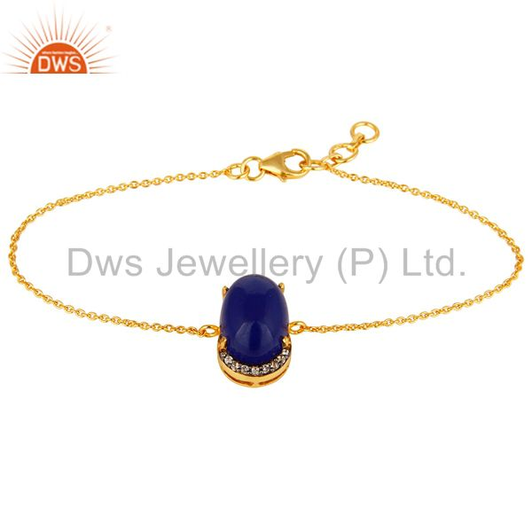18K Yellow Gold Plated Sterling Silver CZ & Blue Aventurine Prong Set Bracelet