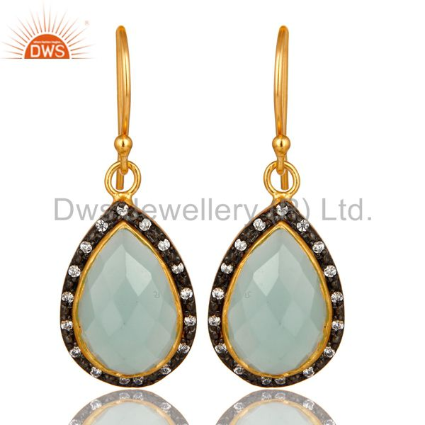 18K Yellow Gold Plated Sterling Silver CZ And Aqua Chalcedony Glass Drop Earring