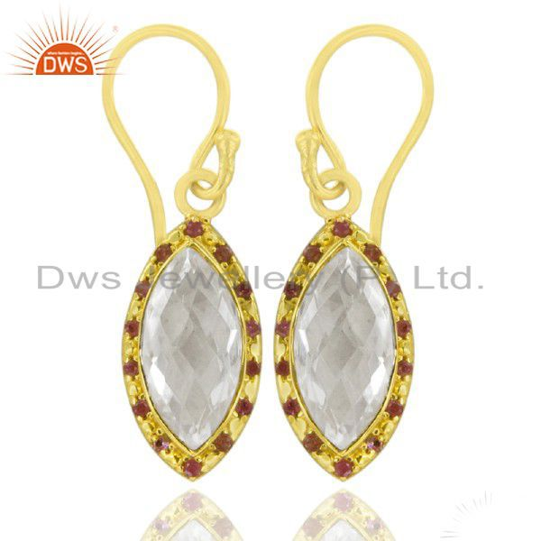 22K Yellow Gold Plated Sterling Silver Ruby And Crystal Quartz Drop Earrings