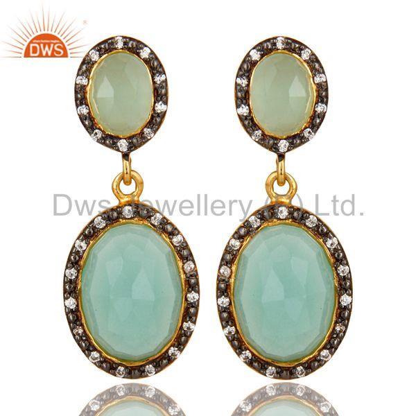 18K Yellow Gold Plated Sterling Silver Aqua Chalcedony And CZ Dangle Earrings