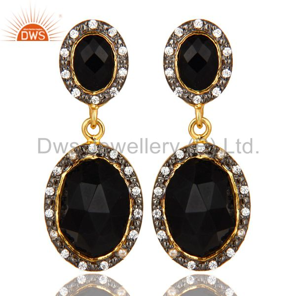 18K Yellow Gold Plated Sterling Silver Black Onyx And CZ Double Dangle Earrings