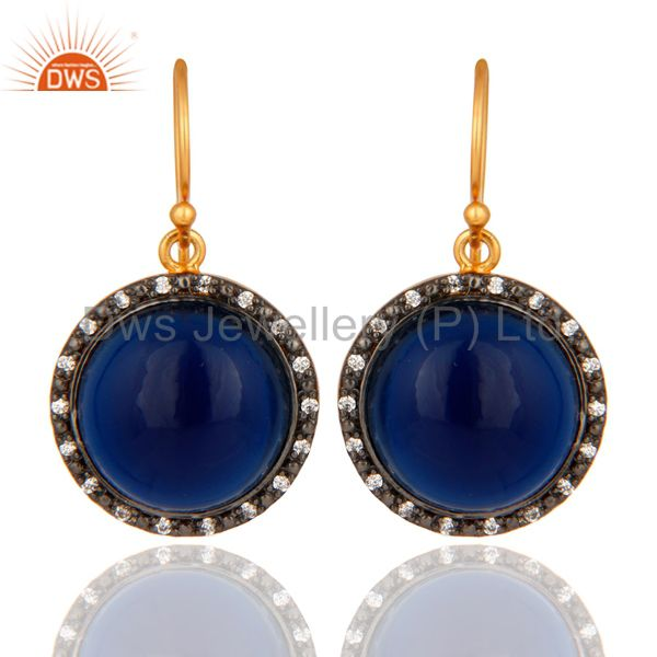14K Gold Plated Sterling Silver Blue Sapphire Corundum Gemstone Earrings With CZ