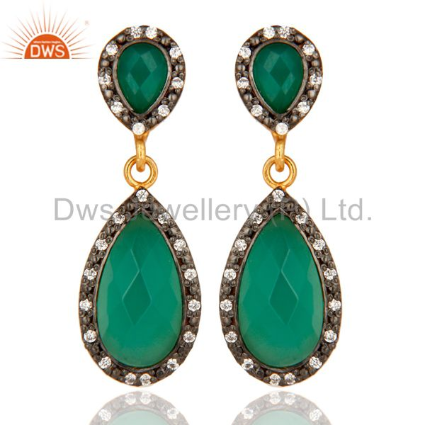 925 Sterling Silver Green Onyx And CZ Dangle Earrings - Gold Plated