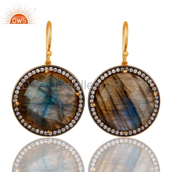 Labradorite Gemstone Earring With CZ Made In 18K Gold Over Solid 925 Silver