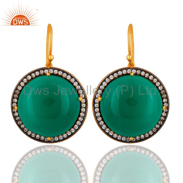 Designer Green Onyx Gemstone 925 Sterling Silver Hook Earring With Gold Plated