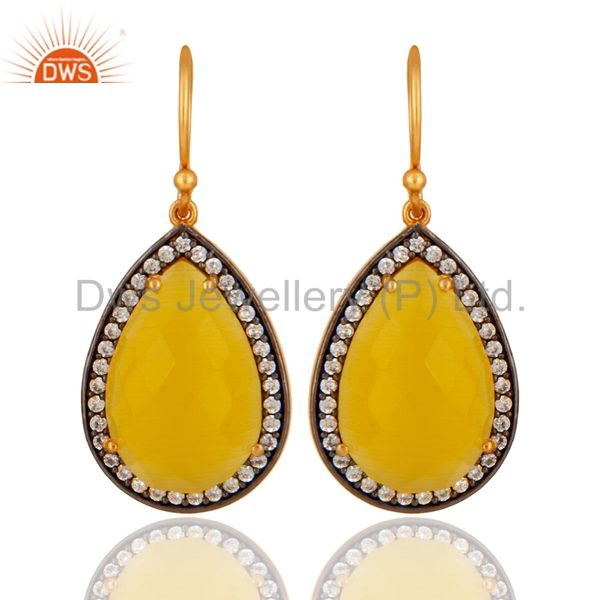 Natural Yellow Moonstone 925 Sterling Silver 18K Gold Plated Earrings With CZ