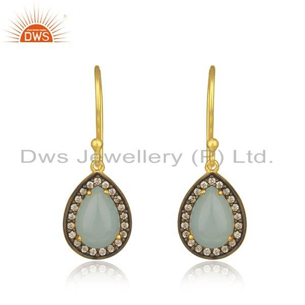 Aqua Chalcedony Gemstone Gold Plated 925 Silver Drop Earrings Jewelry Manufactur