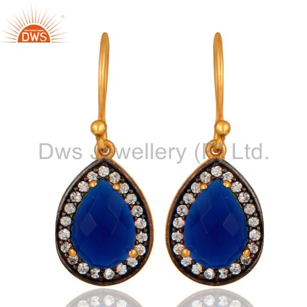 Gold Plated Sterling Silver Natural Pear Shape Blue Corundum Earrings With CZ