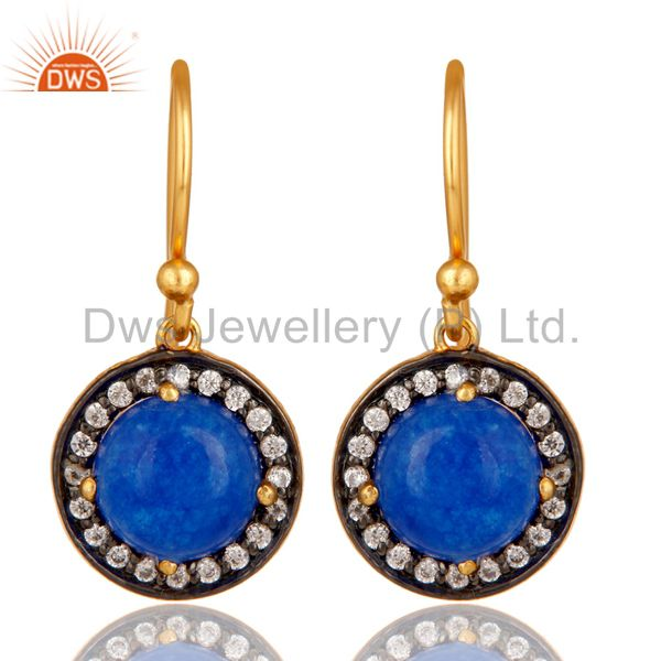 Yellow Gold Plated Sterling Silver Blue Aventurine CZ Surrounded Drop Earrings