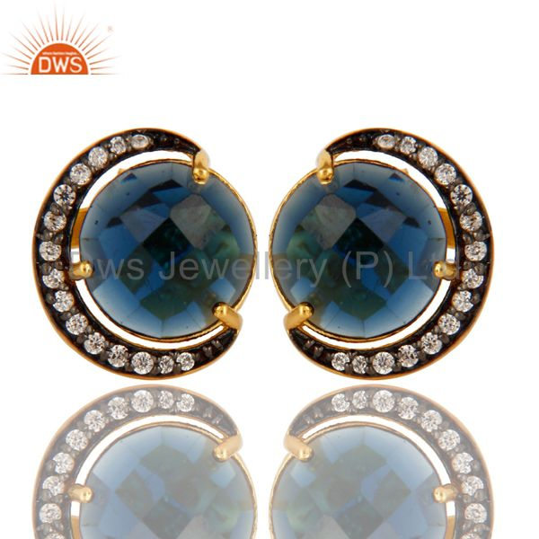 18K Yellow Gold Plated Sterling Silver Blue Corundum Stud Earrings With CZ