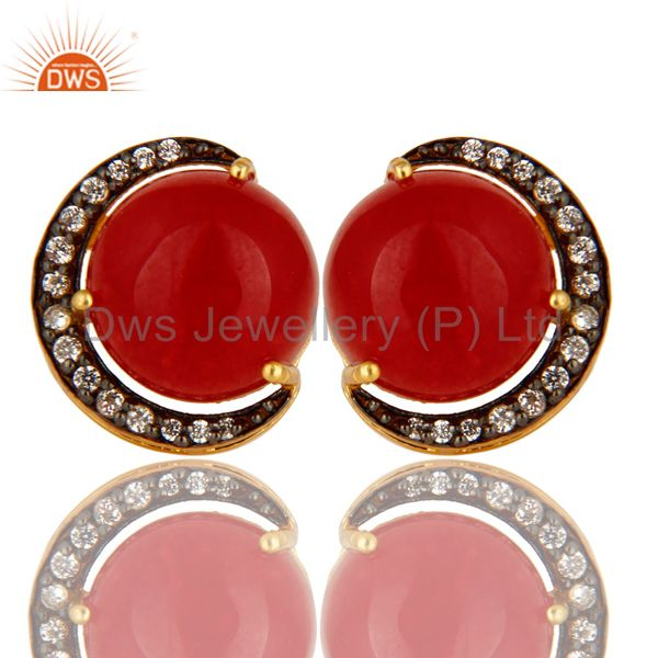 Natural Red Aventurine And CZ Designer Stud Earrings Made In 18K Gold On Silver
