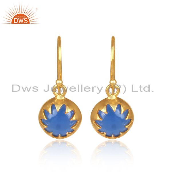 14K Yellow Gold Plated Sterling Silver Blue Chalcedony Drop Earrings