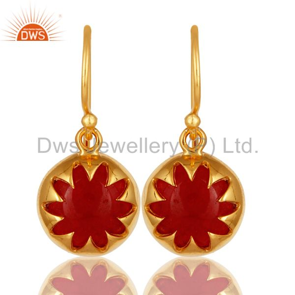 14K Yellow Gold Plated Sterling Silver Natural Red Aventurine Dangle Earrings