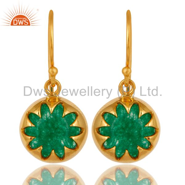Shiny 18K Yellow Gold Plated Sterling Silver Natural Green Aventurine Earrings