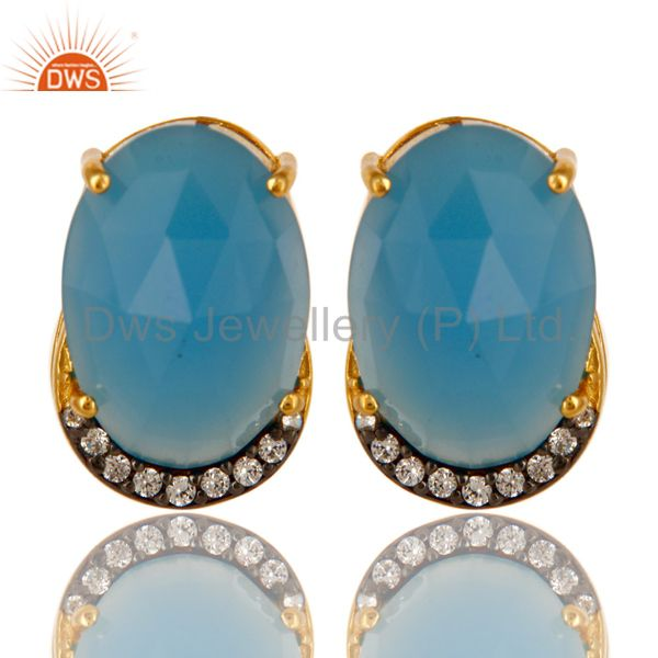 18K Gold Plated Sterling Silver Blue Chalcedony And CZ Stud Earrings
