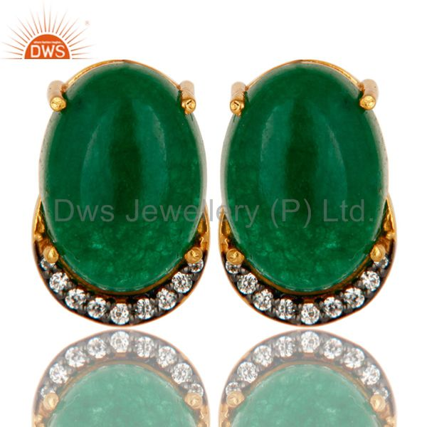 Green Aventurine And CZ 18K Gold Plated Sterling Silver Prong Set Stud Earrings