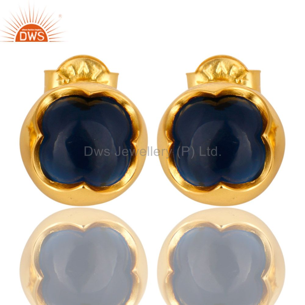 14K Yellow Gold Plated Sterling Silver Blue Corundum Womens Stud Earrings