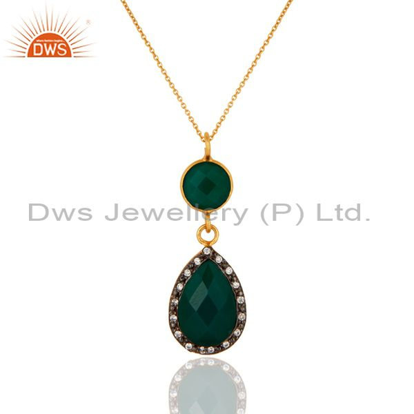 18K Yellow Gold Plated Sterling Silver Green Onyx And CZ Drop Pendant With Chain