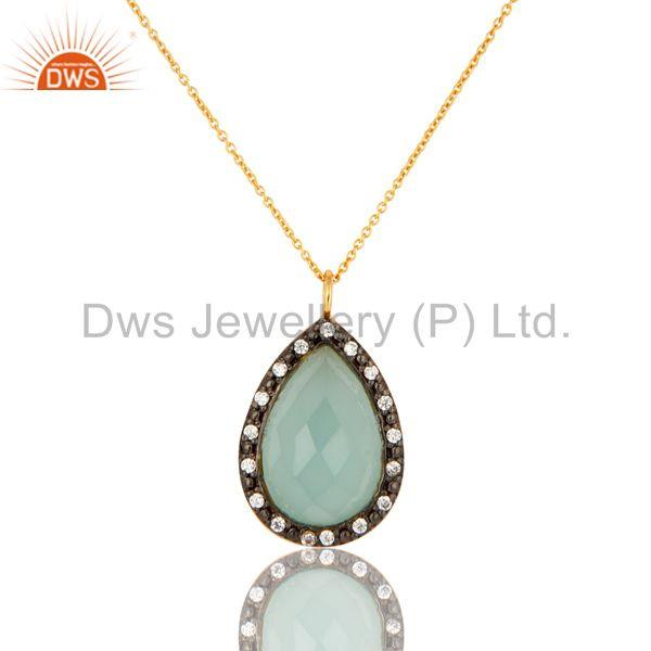 CZ And Aqua Blue Ice Glass Gold Plated Sterling Silver Drop Pendant With Chain