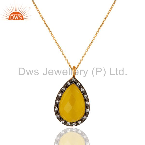 Yellow Gold Plated Sterling Silver Moonstone CZ Accent Drop Pendant With Chain