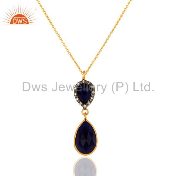 Sapphire Blue Corundum Teardrop Pendant Necklace In 18K Gold On Sterling Silver