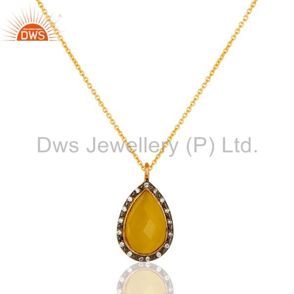Yellow Moonstone And CZ Sterling Silver Pendant Necklace With Yellow Gold Plated