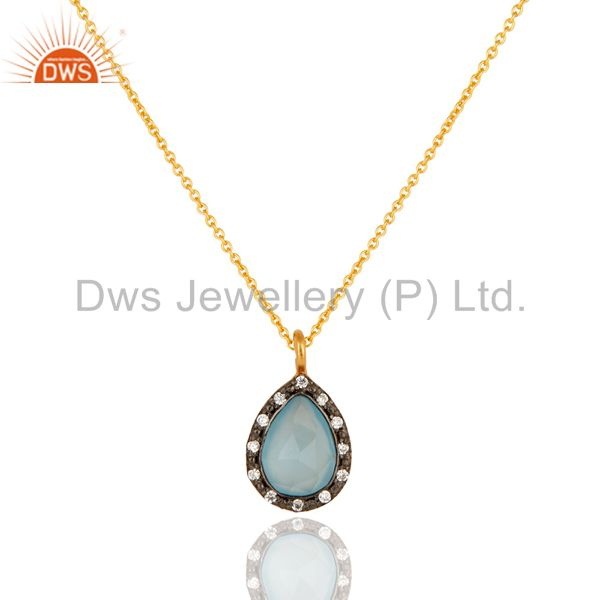 Gold Plated Sterling Silver Aqua Chalcedony And Cubic Zirconia Pendant Necklace
