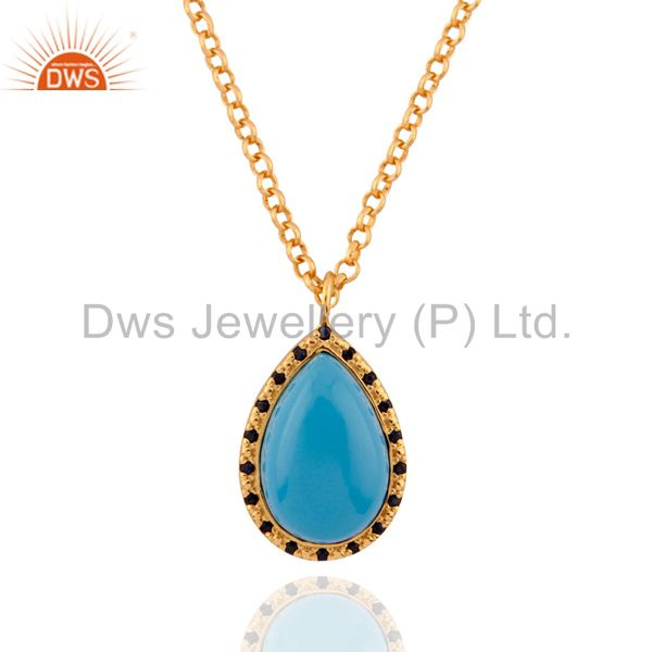 Blue Sapphire 18 karat Gold Plated Turquoise 925 Silver Pendant Necklace