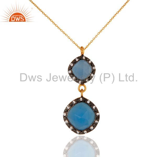 Aqua Blue Chalcedony Faceted Cushion Shape Gold Plated Silver Pendant Necklace