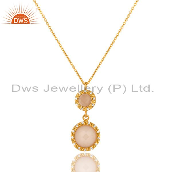 18K Gold Plated Sterling Silver Rose Chalcedony & CZ Drop Pendant With Chain