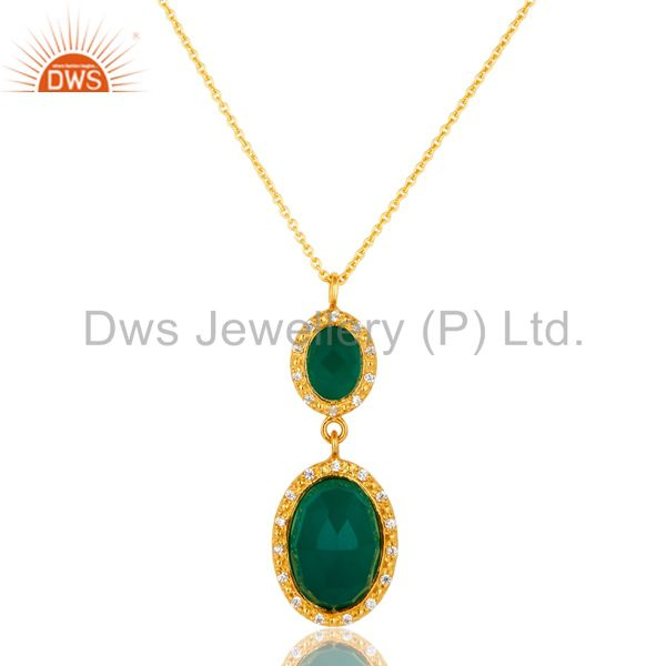 18K Yellow Gold Plated Sterling Silver Green Onyx & CZ Drop Pendant With Chain