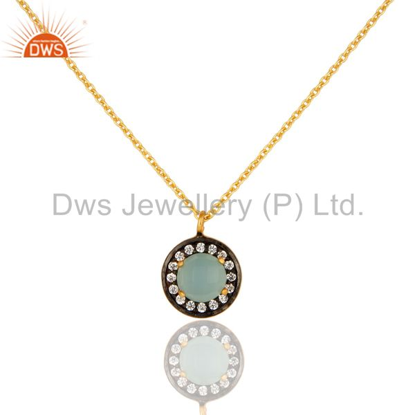 18K Yellow Gold Plated Sterling Silver Blue Chalcedony And CZ Pendant With Chain