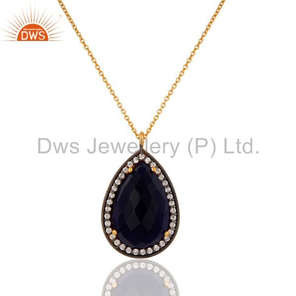 Blue Corundum 925 Sterling Silver With Gold Plated Gemstone Pendant Necklace
