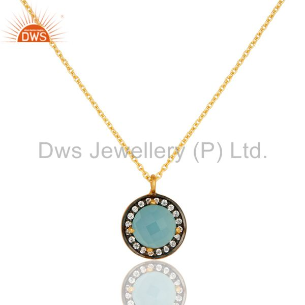 """18K Gold Plated Sterling Silver Blue Chalcedony And CZ Pendant With 16"""" In Chain"""
