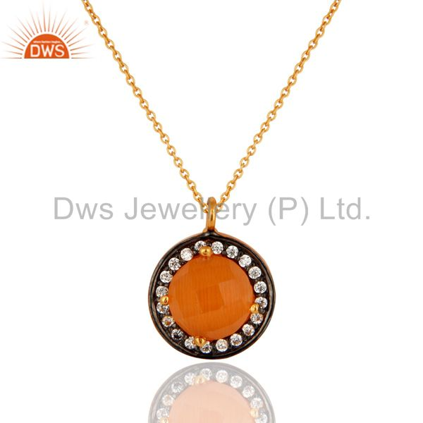 18K Gold Plated 925 Sterling Silver Peach Moonstone & White Zircon Pendant Chain