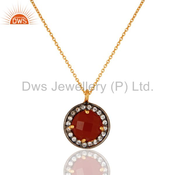 """18K Gold Plated Sterling Silver Red Onyx Gemstone Pendant With 16"""" Inch Chain"""