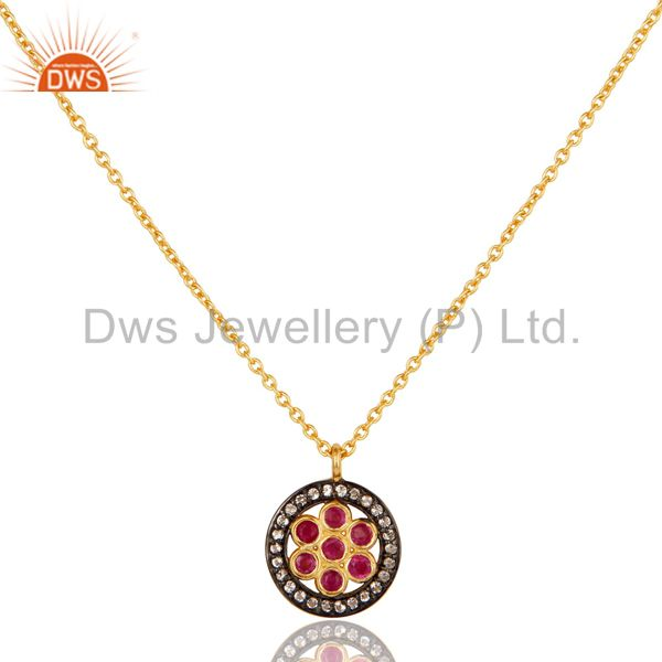 White Topaz & Ruby Gemstone Oxidized 925 Sterling Silver Pendant Necklace