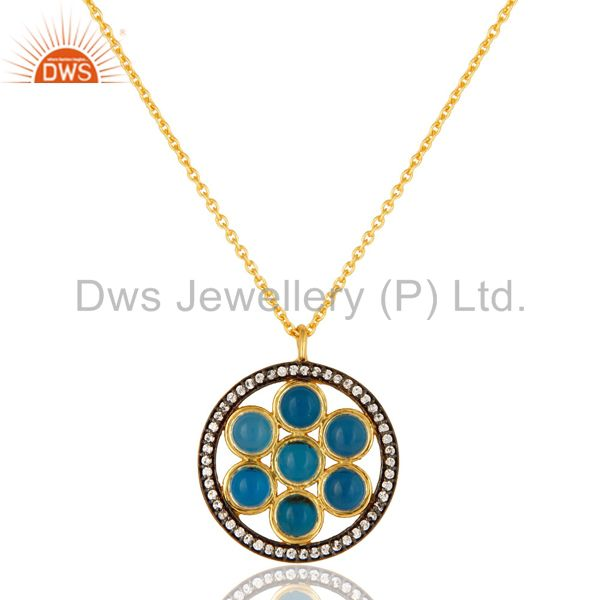 18K Gold Plated Sterling Silver Blue Chalcedony And CZ Circle Pendant With Chain