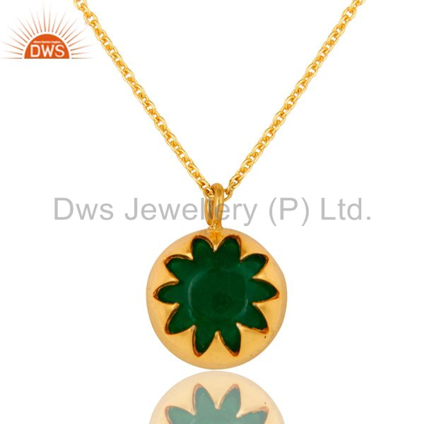 Natural Green Aventurine Gemstone Sterling Silver Pendant Necklace - Gold Plated