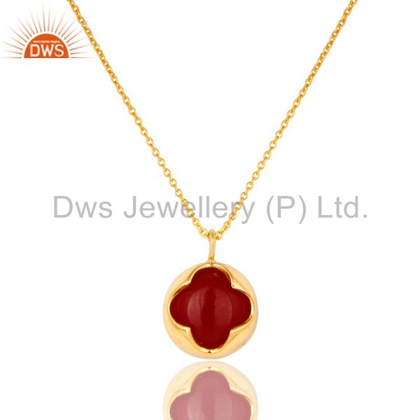 18K Yellow Gold Plated Sterling Silver Red Aventurine Designer Pendant Necklace