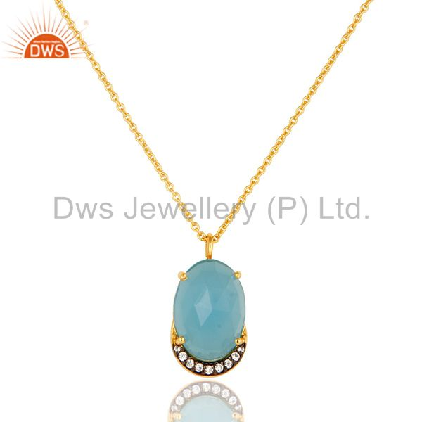 14K Gold Plated Sterling Silver Blue Chalcedony Designer Pendant With Chain
