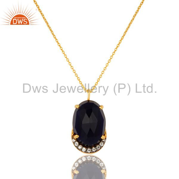 18K Yellow Gold Plated Sterling Silver Blue Corundum And CZ Pendant With Chain